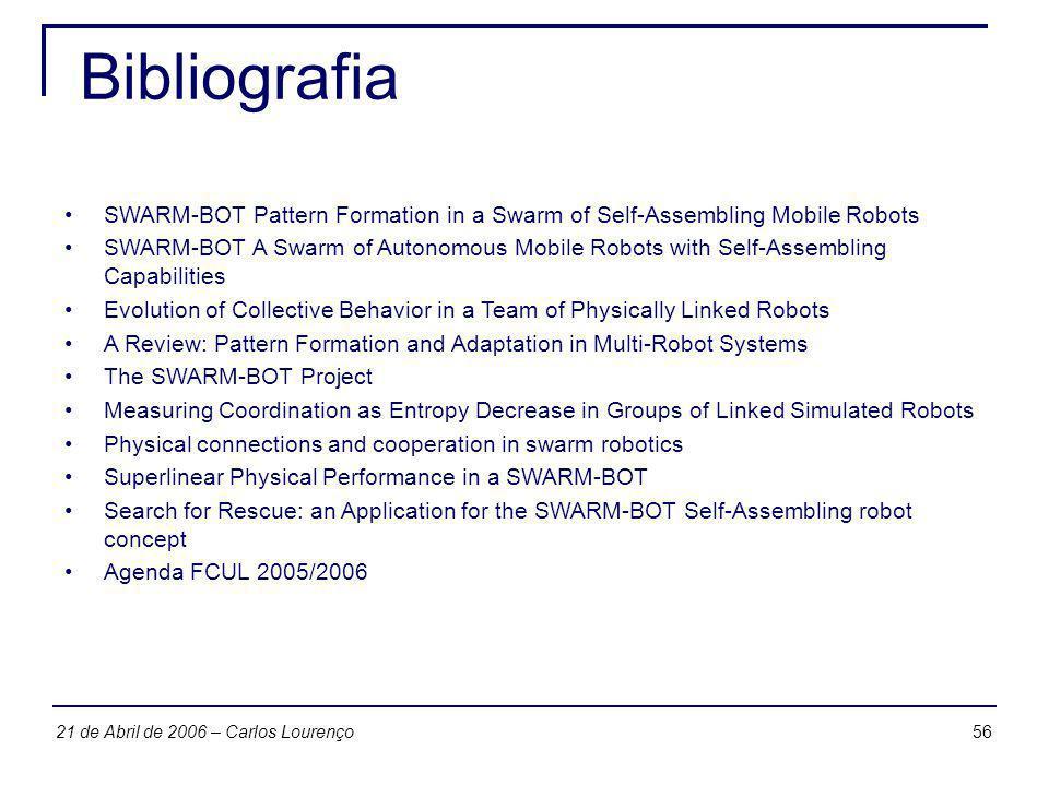 5621 de Abril de 2006 – Carlos Lourenço Bibliografia SWARM-BOT Pattern Formation in a Swarm of Self-Assembling Mobile Robots SWARM-BOT A Swarm of Auto