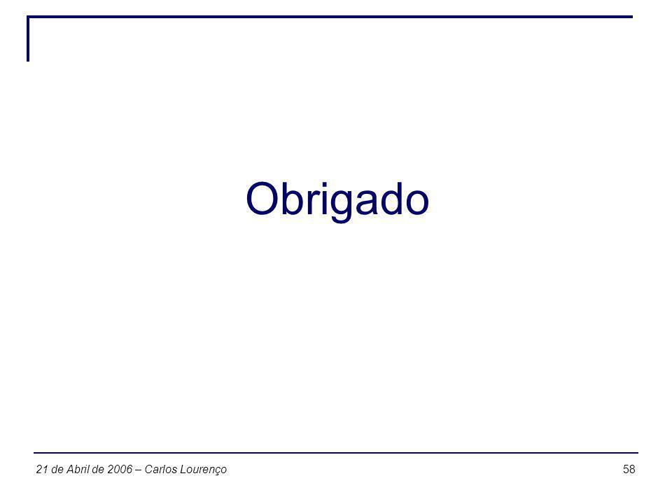 5821 de Abril de 2006 – Carlos Lourenço Obrigado