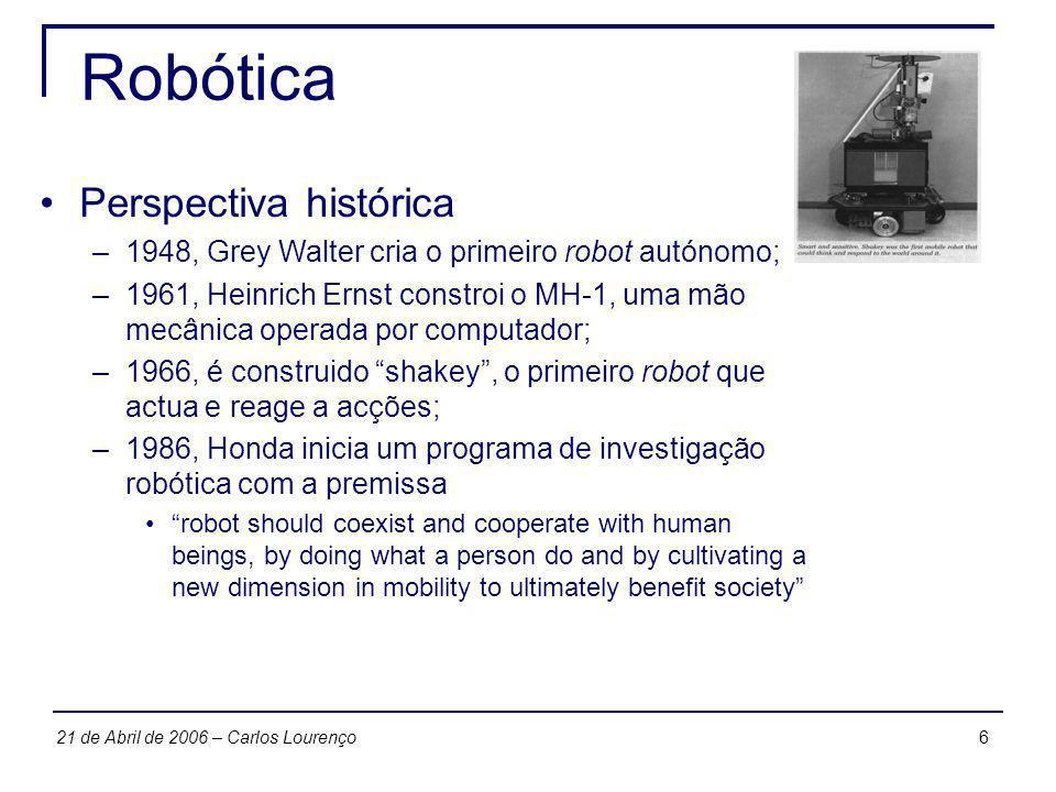 621 de Abril de 2006 – Carlos Lourenço Robótica Perspectiva histórica –1948, Grey Walter cria o primeiro robot autónomo; –1961, Heinrich Ernst constro