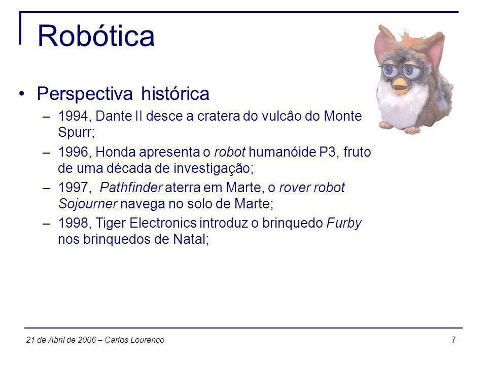 721 de Abril de 2006 – Carlos Lourenço Robótica Perspectiva histórica –1994, Dante II desce a cratera do vulcâo do Monte Spurr; –1996, Honda apresenta