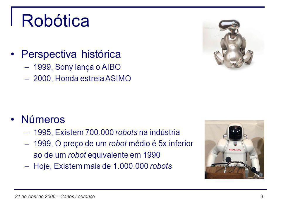 2921 de Abril de 2006 – Carlos Lourenço Swarm robotics Características –Robots individuais são baratos –Swarms são grandes em tamanho –Swarms são escaláveis –Swarms são tolerantes a faltas –Podem lidar com tarefas de qualquer tamanho –Descentralização reduz ónus de comunicações Study of how large number of relatively simple physically embodied agents can be designed such that a desired collective behavior emerges from the local interactions among agents and between the agents and the environment, in www.swarm-robotics.org
