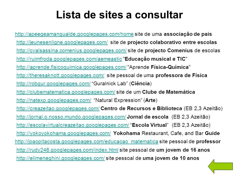 Lista de sites a consultar http://apeegeamangualde.googlepages.com/homehttp://apeegeamangualde.googlepages.com/home site de uma associação de pais htt