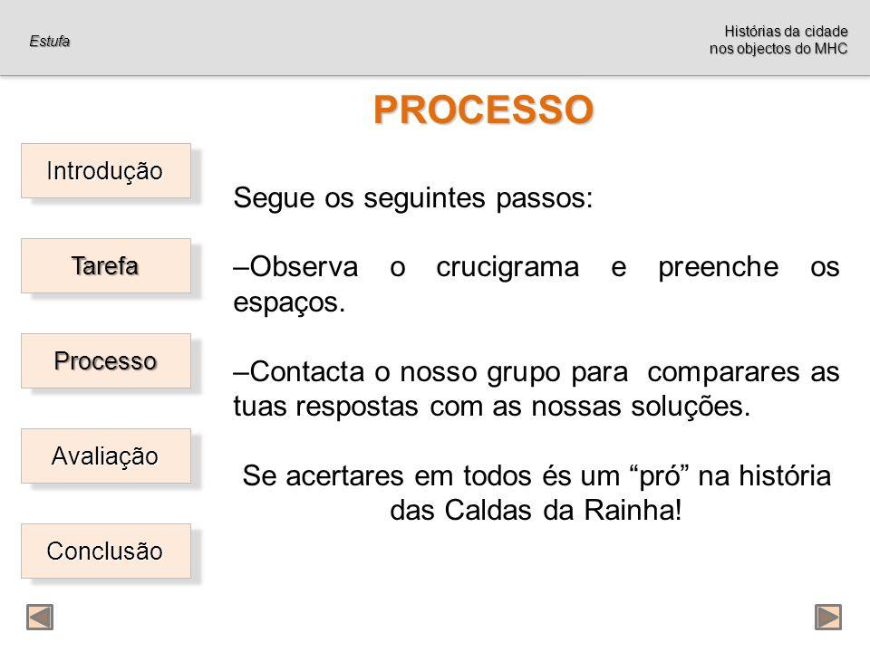 Introdução Tarefa Processo Avaliação Conclusão PROCESSO PROCESSO Segue os seguintes passos: –Observa o crucigrama e preenche os espaços.