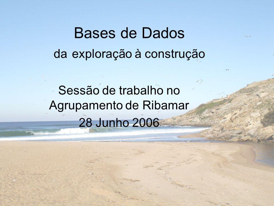 Bases de Dados da exploração à construção Sessão de trabalho no Agrupamento de Ribamar 28 Junho 2006