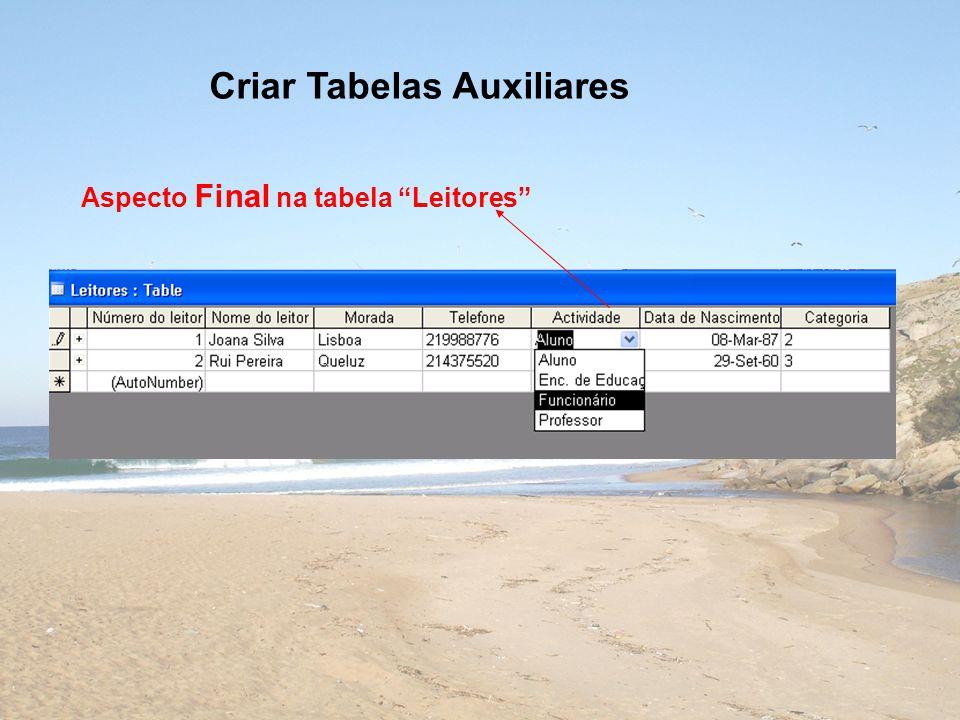 Criar Tabelas Auxiliares Aspecto Final na tabela Leitores