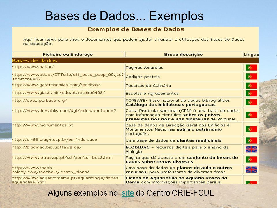 Bases de Dados... Exemplos Alguns exemplos no site do Centro CRIE-FCULsite