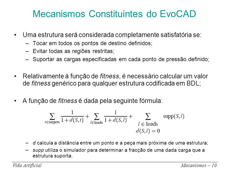 Mecanismos Constituintes do EvoCAD Uma estrutura será considerada completamente satisfatória se: –Tocar em todos os pontos de destino definidos; –Evitar todas as regiões restritas; –Suportar as cargas especificadas em cada ponto de pressão definido; Relativamente à função de fitness, é necessário calcular um valor de fitness genérico para qualquer estrutura codificada em BDL; A função de fitness é dada pela seguinte fórmula: –d calcula a distância entre um ponto e a peça mais próxima de uma estrutura; –supp utiliza o simulador para determinar a fracção de uma dada carga que a estrutura suporta.