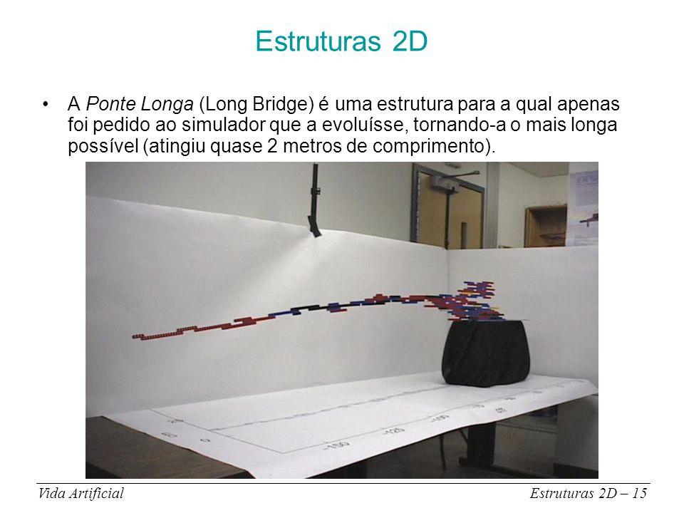 Estruturas 2D A Ponte Longa (Long Bridge) é uma estrutura para a qual apenas foi pedido ao simulador que a evoluísse, tornando-a o mais longa possível (atingiu quase 2 metros de comprimento).