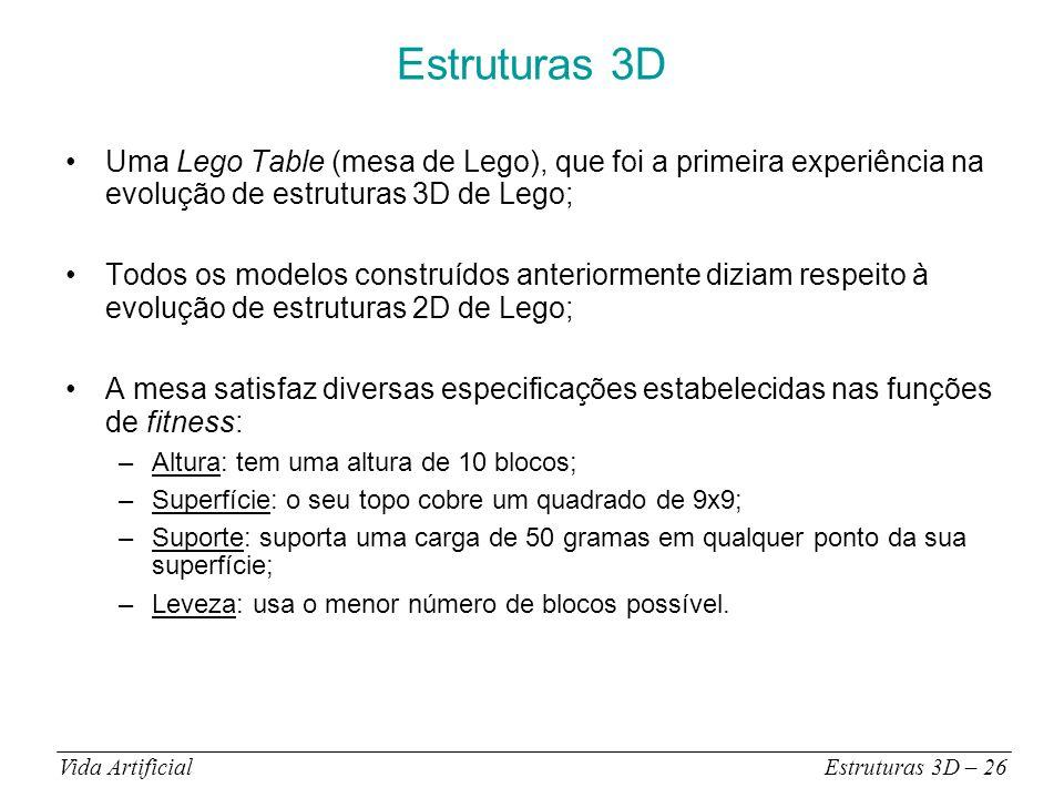 Estruturas 3D Uma Lego Table (mesa de Lego), que foi a primeira experiência na evolução de estruturas 3D de Lego; Todos os modelos construídos anteriormente diziam respeito à evolução de estruturas 2D de Lego; A mesa satisfaz diversas especificações estabelecidas nas funções de fitness: –Altura: tem uma altura de 10 blocos; –Superfície: o seu topo cobre um quadrado de 9x9; –Suporte: suporta uma carga de 50 gramas em qualquer ponto da sua superfície; –Leveza: usa o menor número de blocos possível.