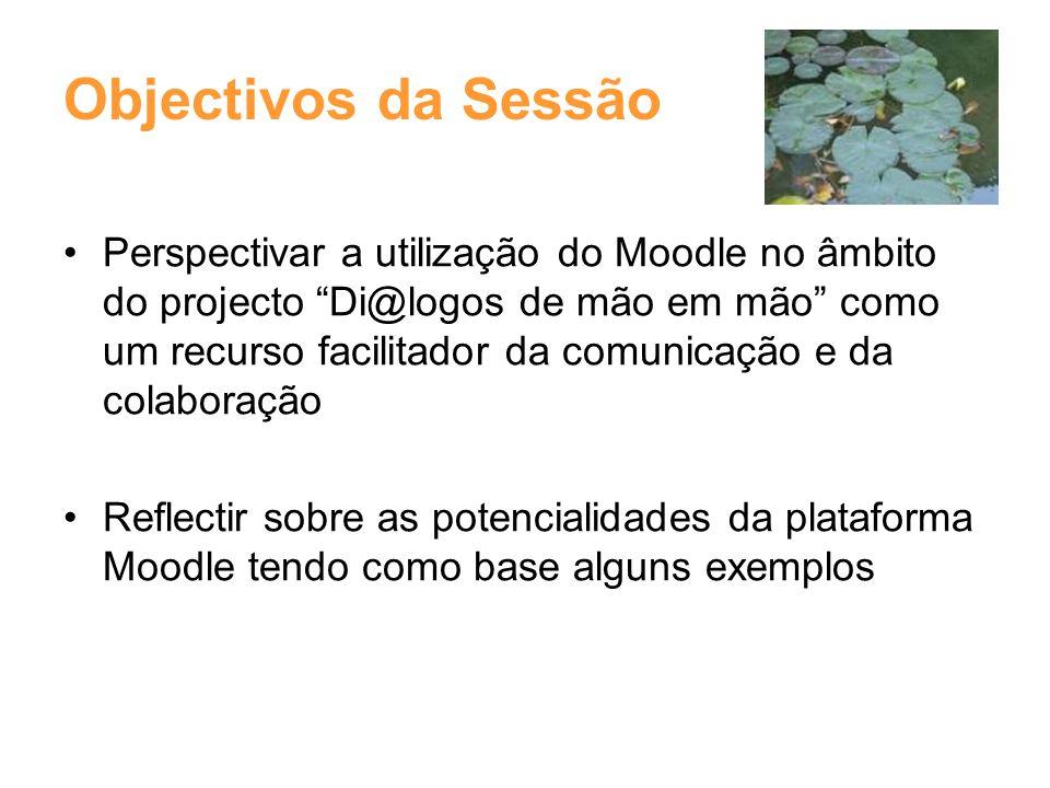 Objectivos da Sessão Perspectivar a utilização do Moodle no âmbito do projecto Di@logos de mão em mão como um recurso facilitador da comunicação e da colaboração Reflectir sobre as potencialidades da plataforma Moodle tendo como base alguns exemplos
