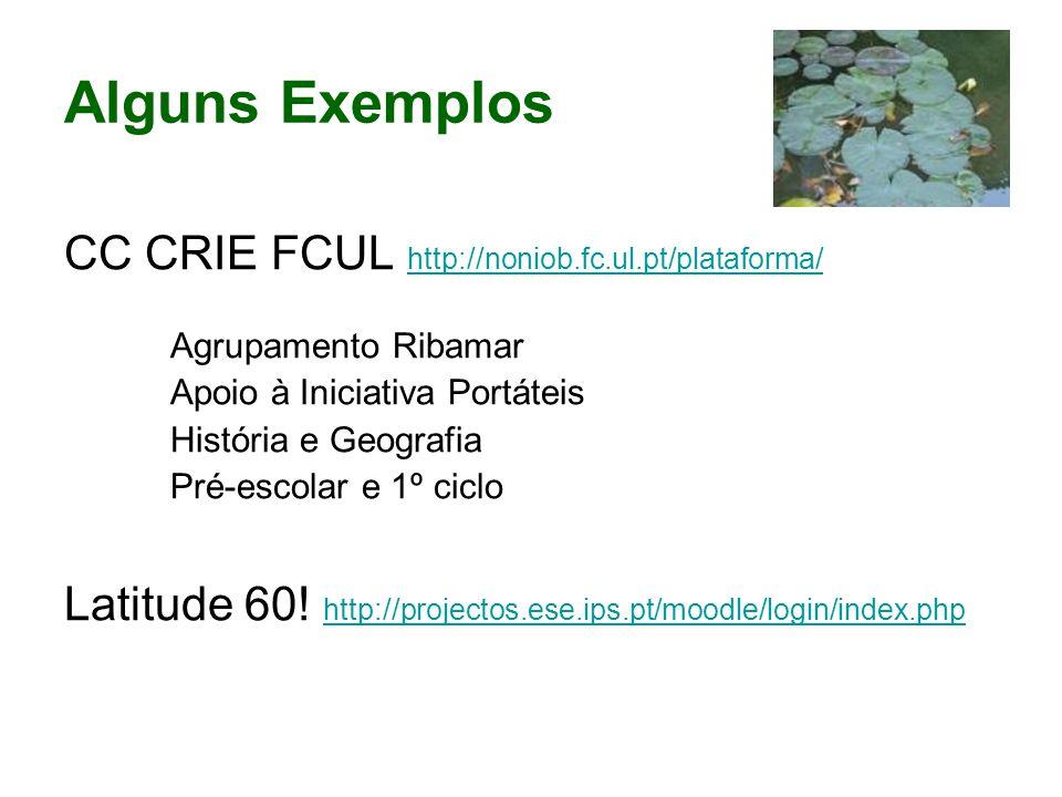 Alguns Exemplos CC CRIE FCUL http://noniob.fc.ul.pt/plataforma/ http://noniob.fc.ul.pt/plataforma/ Agrupamento Ribamar Apoio à Iniciativa Portáteis História e Geografia Pré-escolar e 1º ciclo Latitude 60.