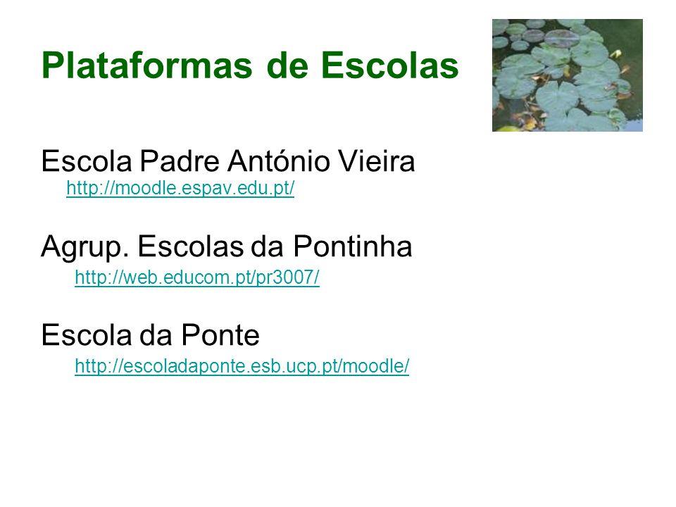 Plataformas de Escolas Escola Padre António Vieira http://moodle.espav.edu.pt/ http://moodle.espav.edu.pt/ Agrup.