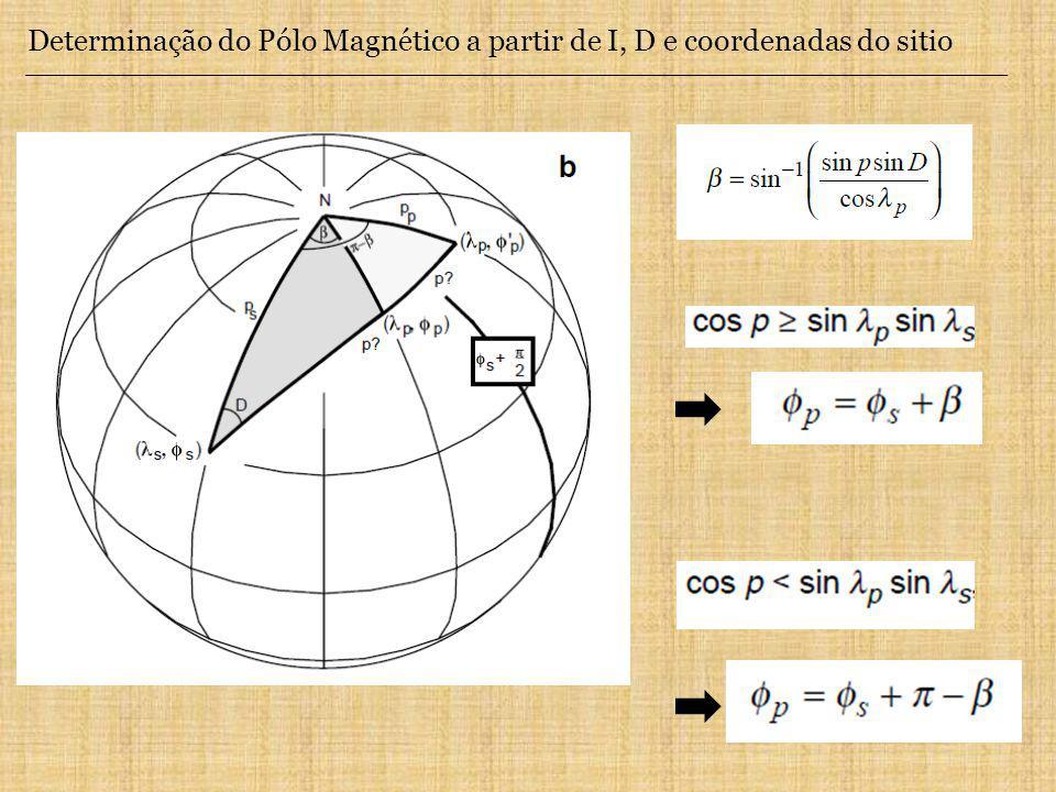 Determinação do Pólo Magnético a partir de I, D e coordenadas do sitio