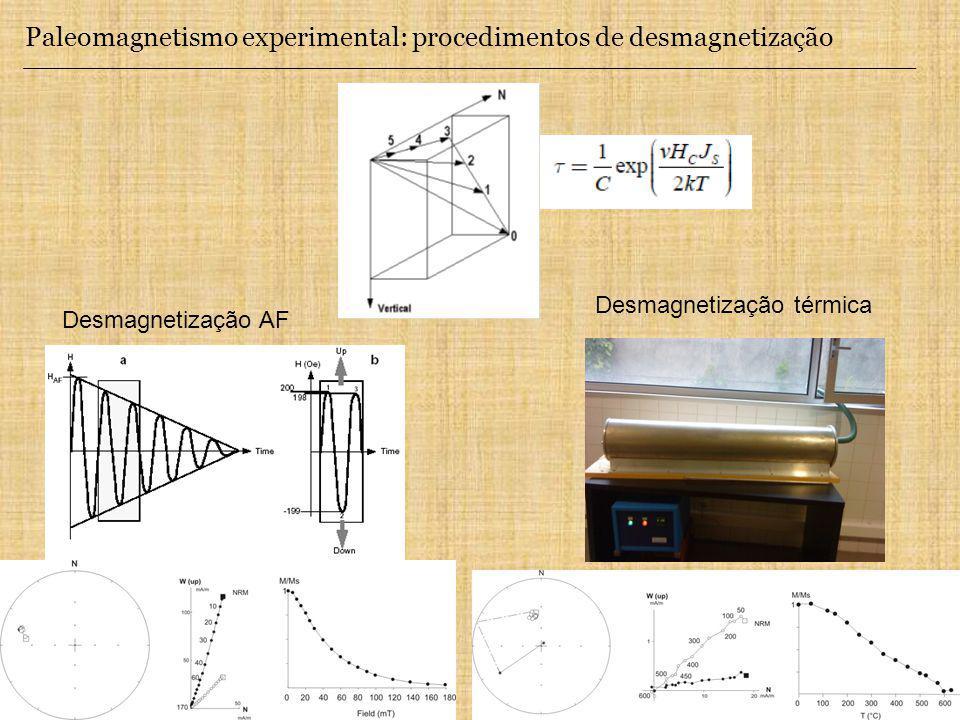 Paleomagnetismo experimental: procedimentos de desmagnetização Desmagnetização AF Desmagnetização térmica