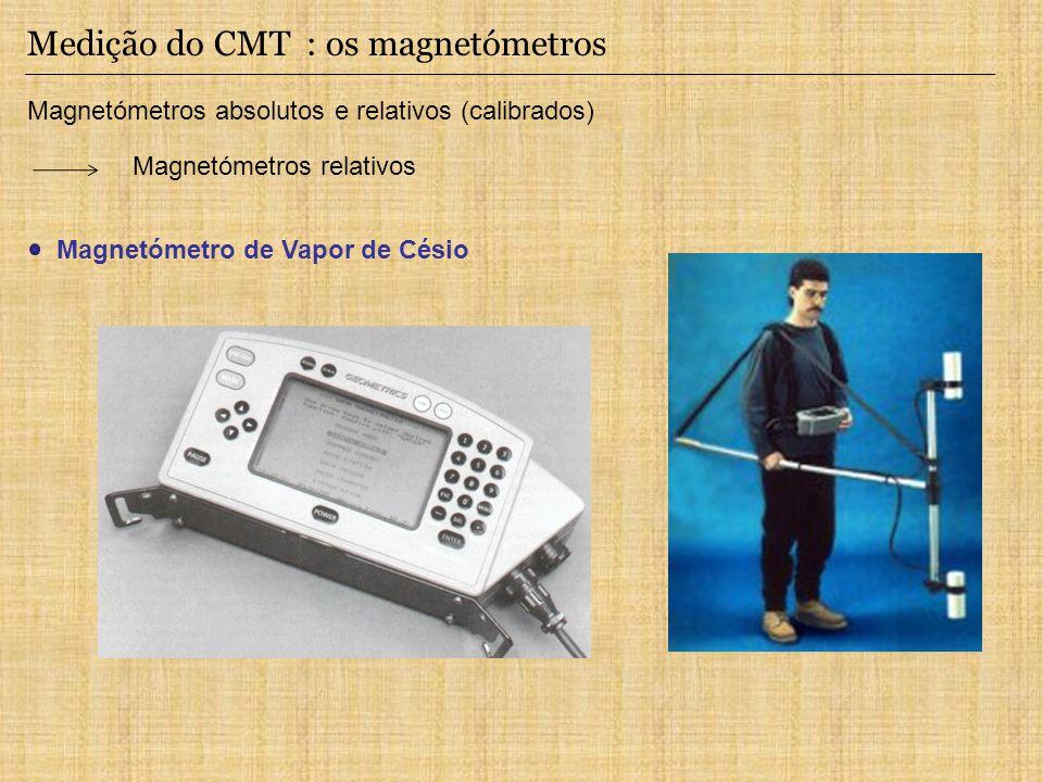 Medição do CMT : os magnetómetros Magnetómetros absolutos e relativos (calibrados) Magnetómetros relativos Magnetómetro de Vapor de Césio