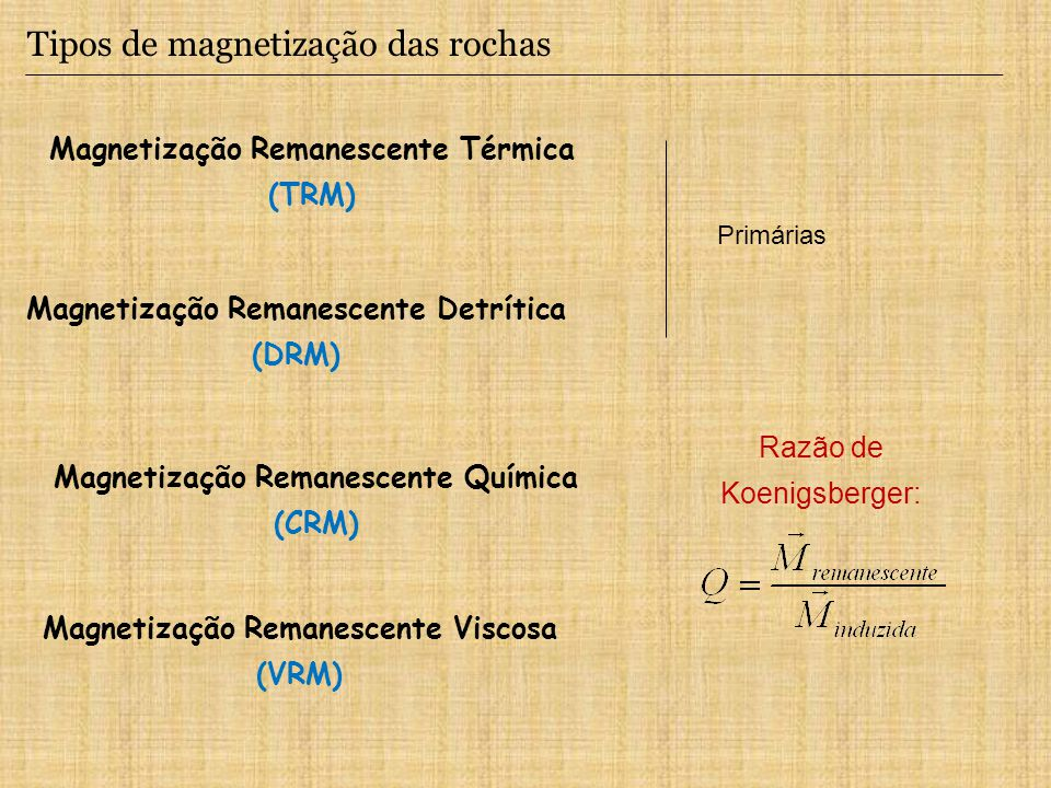 Tipos de magnetização das rochas Magnetização Remanescente Térmica (TRM) Magnetização Remanescente Detrítica (DRM) Magnetização Remanescente Viscosa (