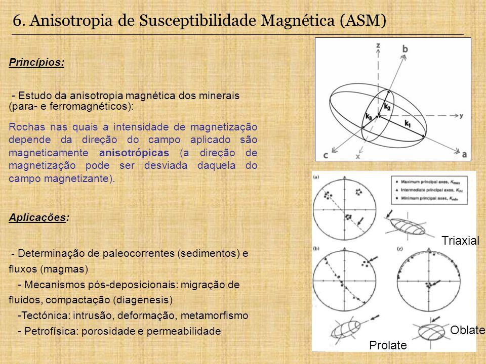 Princípios: - Estudo da anisotropia magnética dos minerais (para- e ferromagnéticos): Rochas nas quais a intensidade de magnetização depende da direçã
