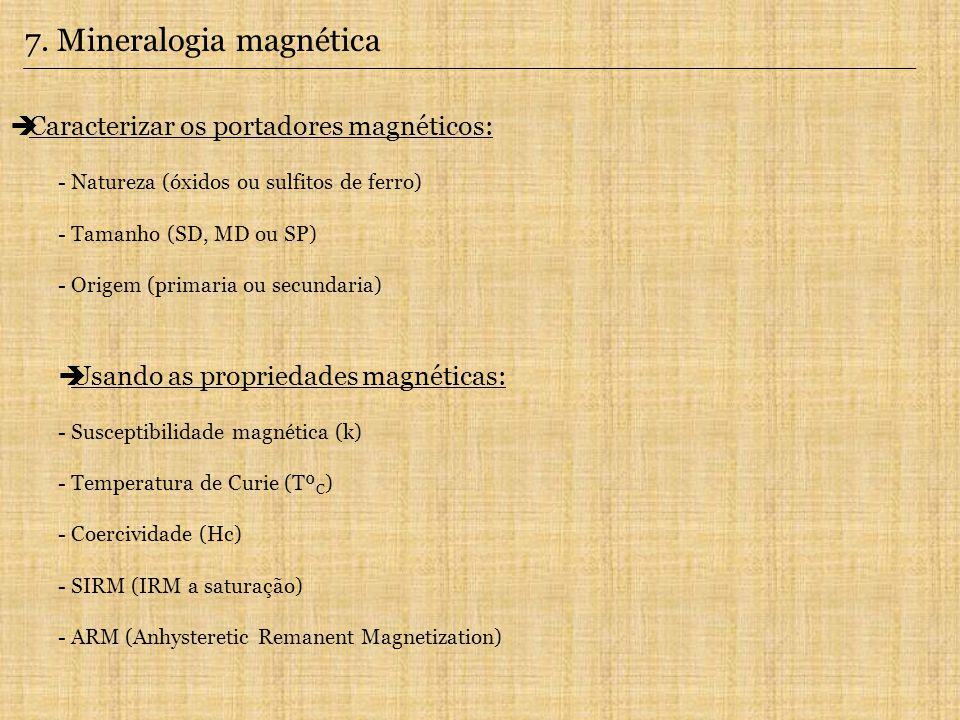 7. Mineralogia magnética Caracterizar os portadores magnéticos: - Natureza (óxidos ou sulfitos de ferro) - Tamanho (SD, MD ou SP) - Origem (primaria o