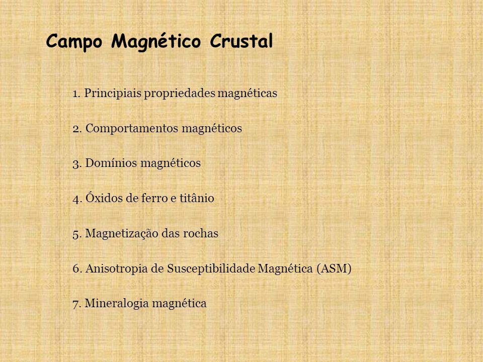 Campo Magnético Crustal 1. Principiais propriedades magnéticas 2. Comportamentos magnéticos 3. Domínios magnéticos 5. Magnetização das rochas 4. Óxido