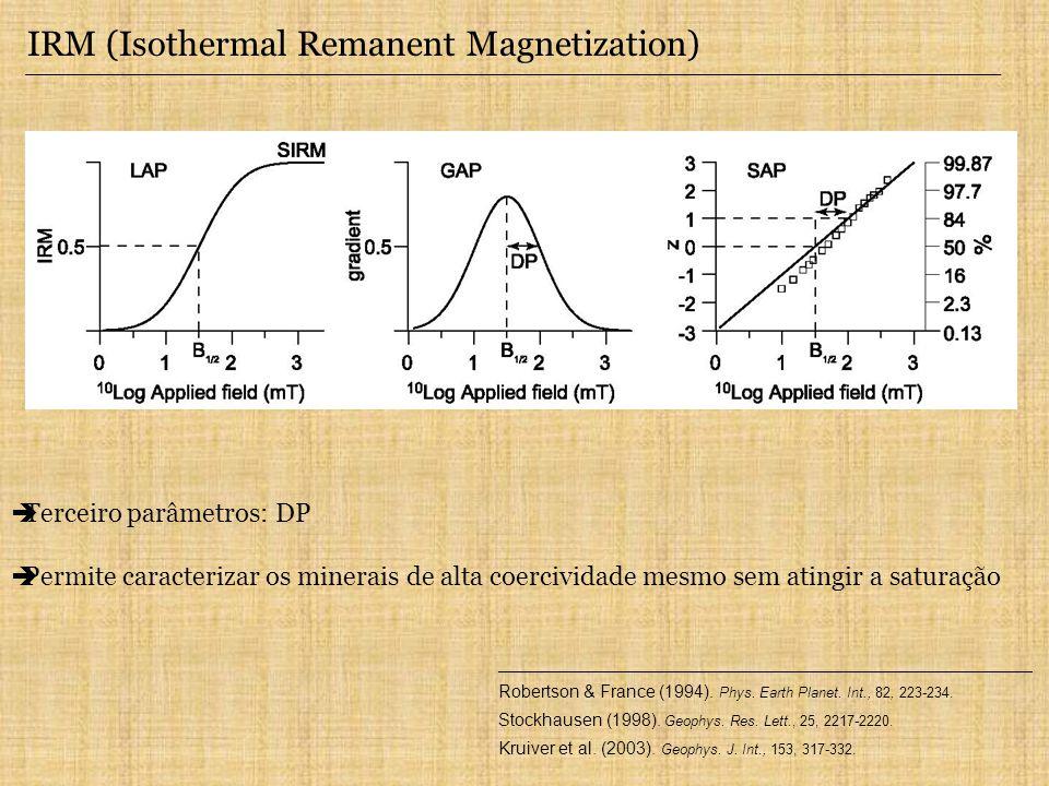 IRM (Isothermal Remanent Magnetization) Terceiro parâmetros: DP Permite caracterizar os minerais de alta coercividade mesmo sem atingir a saturação __