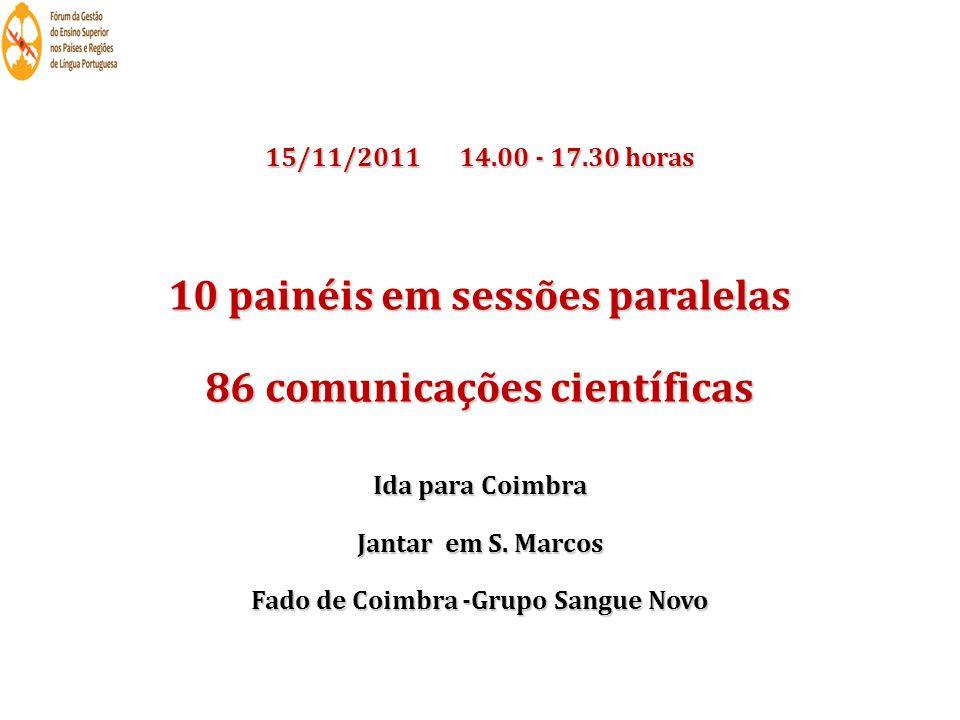 15/11/2011 14.00 - 17.30 horas 10 painéis em sessões paralelas 86 comunicações científicas Ida para Coimbra Jantar em S. Marcos Fado de Coimbra -Grupo