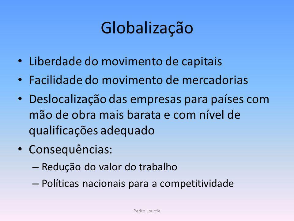 Globalização Liberdade do movimento de capitais Facilidade do movimento de mercadorias Deslocalização das empresas para países com mão de obra mais ba