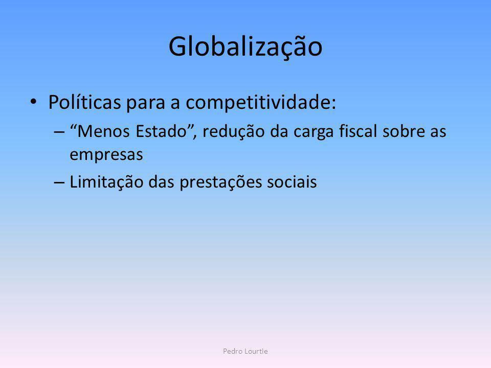 Globalização Políticas para a competitividade: – Menos Estado, redução da carga fiscal sobre as empresas – Limitação das prestações sociais Pedro Lour
