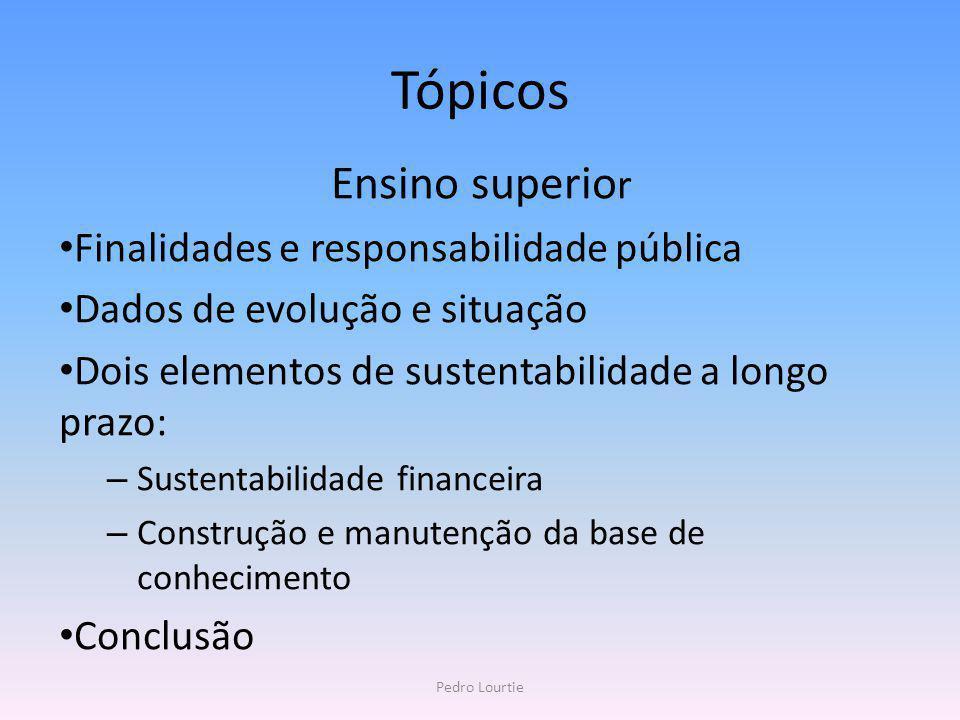 Tópicos Ensino superio r Finalidades e responsabilidade pública Dados de evolução e situação Dois elementos de sustentabilidade a longo prazo: – Suste