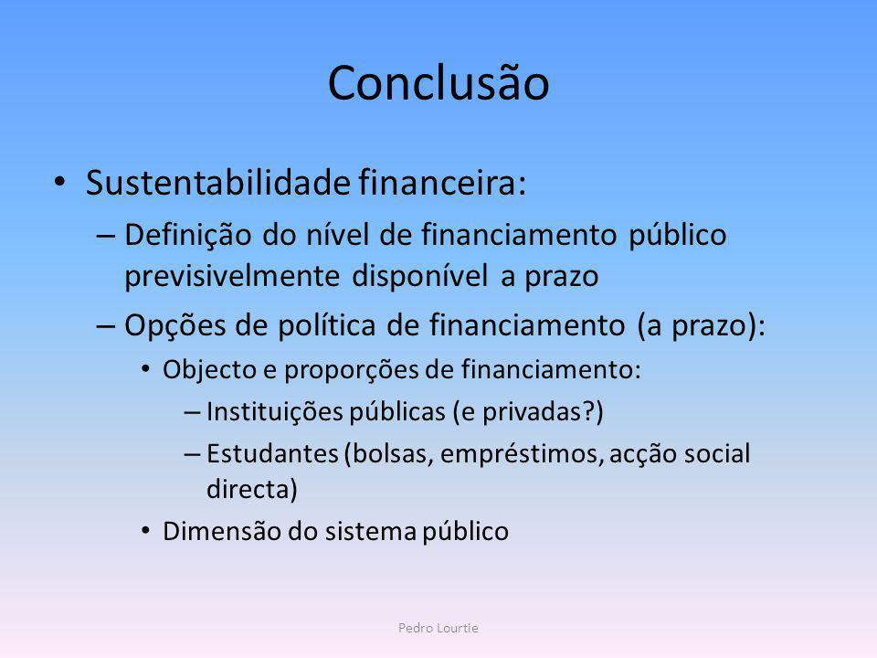 Conclusão Sustentabilidade financeira: – Definição do nível de financiamento público previsivelmente disponível a prazo – Opções de política de financ