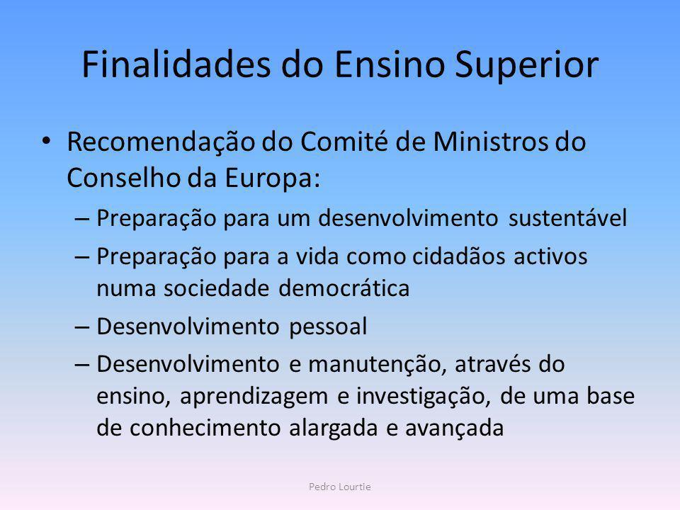 Finalidades do Ensino Superior Recomendação do Comité de Ministros do Conselho da Europa: – Preparação para um desenvolvimento sustentável – Preparaçã
