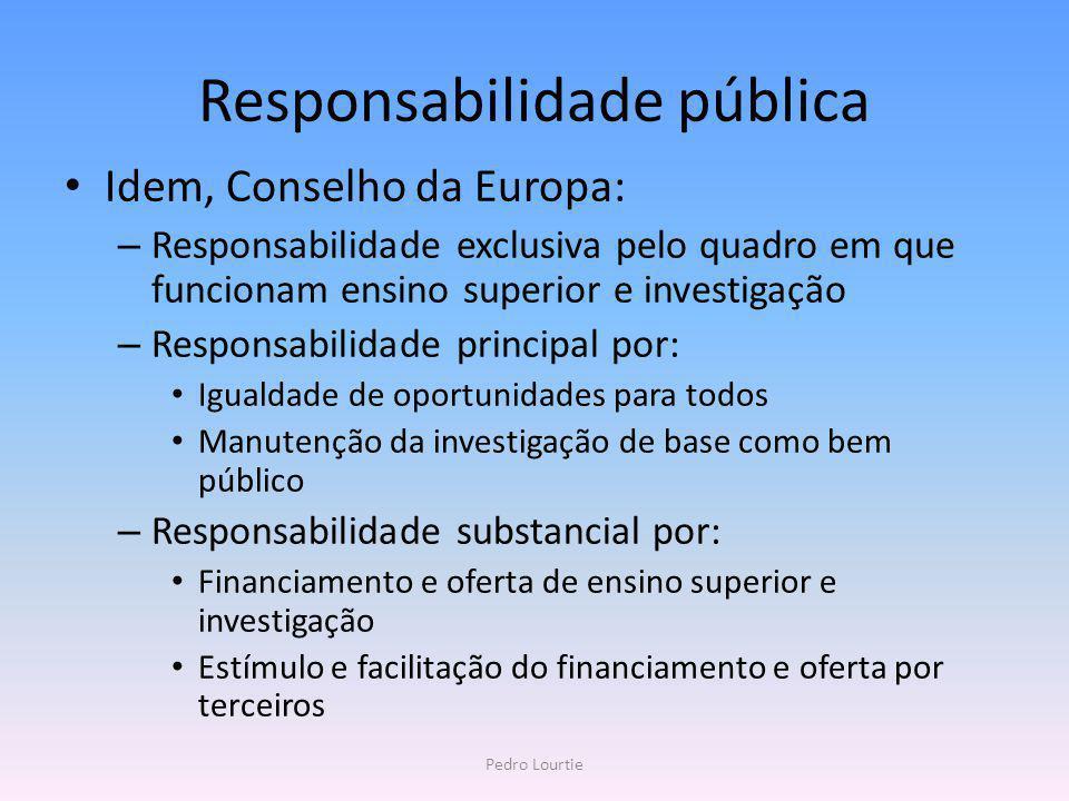 Responsabilidade pública Idem, Conselho da Europa: – Responsabilidade exclusiva pelo quadro em que funcionam ensino superior e investigação – Responsa