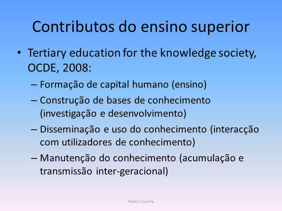 Contributos do ensino superior Tertiary education for the knowledge society, OCDE, 2008: – Formação de capital humano (ensino) – Construção de bases d