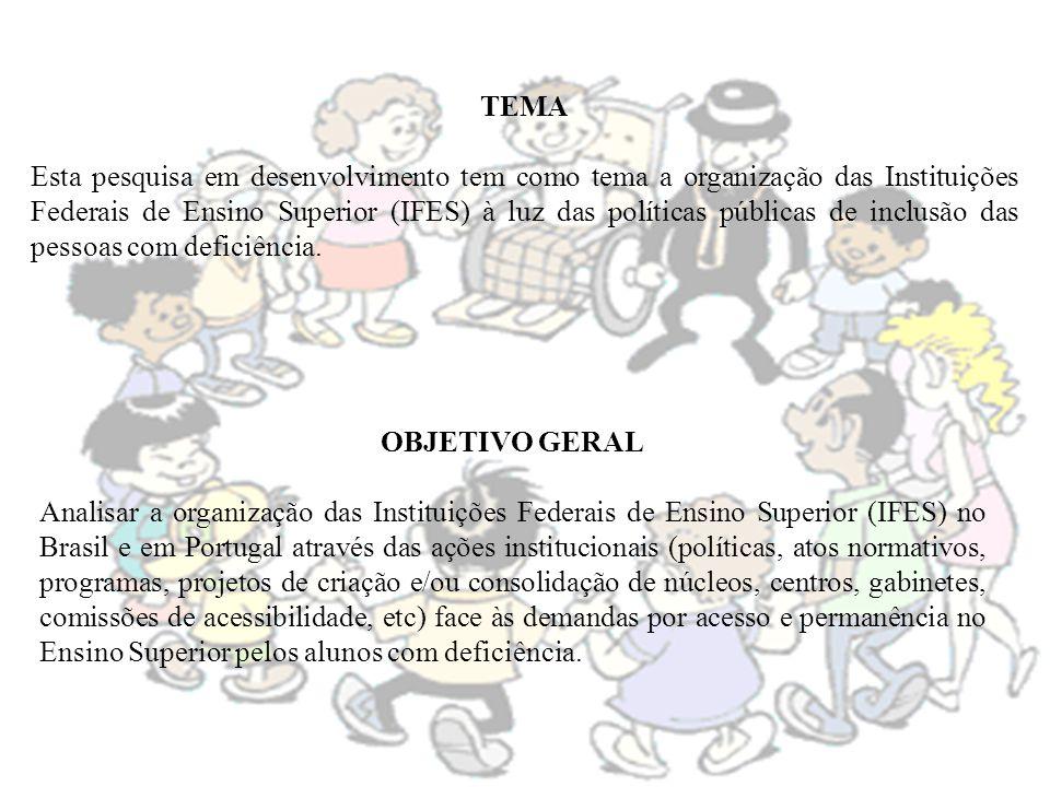OBJETIVO GERAL Analisar a organização das Instituições Federais de Ensino Superior (IFES) no Brasil e em Portugal através das ações institucionais (po