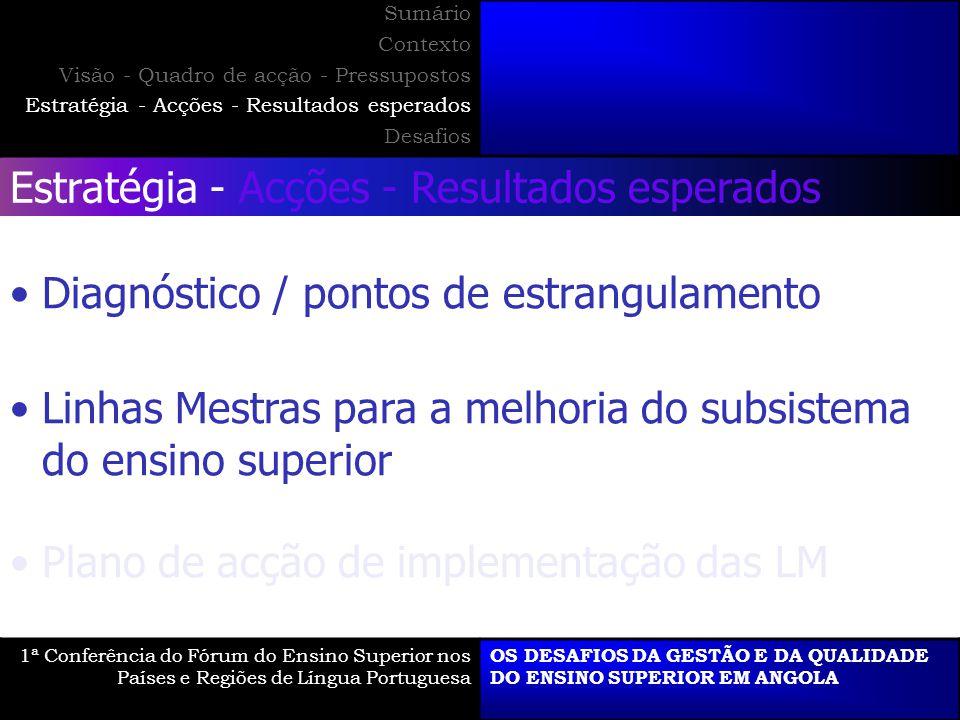 Estratégia - Acções - Resultados esperados Diagnóstico / pontos de estrangulamento Linhas Mestras para a melhoria do subsistema do ensino superior Pla