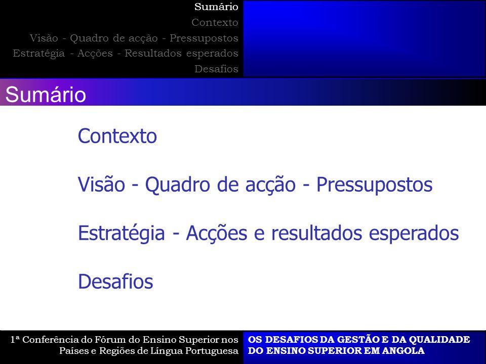 Visão - Quadro de acção - Pressupostos 1ª Conferência do Fórum do Ensino Superior nos Países e Regiões de Língua Portuguesa OS DESAFIOS DA GESTÃO E DA QUALIDADE DO ENSINO SUPERIOR EM ANGOLA Sumário Contexto Visão - Quadro de acção - Pressupostos Estratégia - Acções - Resultados esperados Desafios O E Q + - - +