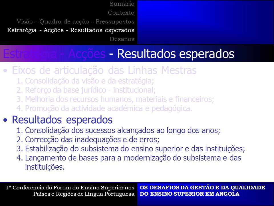 Estratégia - Acções - Resultados esperados Eixos de articulação das Linhas Mestras 1.Consolidação da visão e da estratégia; 2.Reforço da base jurídico - institucional; 3.Melhoria dos recursos humanos, materiais e financeiros; 4.Promoção da actividade académica e pedagógica.