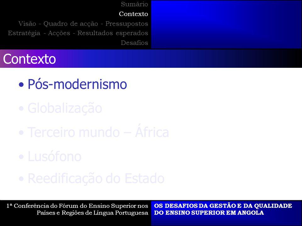 Visão - Quadro de acção - Pressupostos 1ª Conferência do Fórum do Ensino Superior nos Países e Regiões de Língua Portuguesa OS DESAFIOS DA GESTÃO E DA QUALIDADE DO ENSINO SUPERIOR EM ANGOLA Sumário Contexto Visão - Quadro de acção - Pressupostos Estratégia - Acções - Resultados esperados Desafios O E Q O E Q + - - +