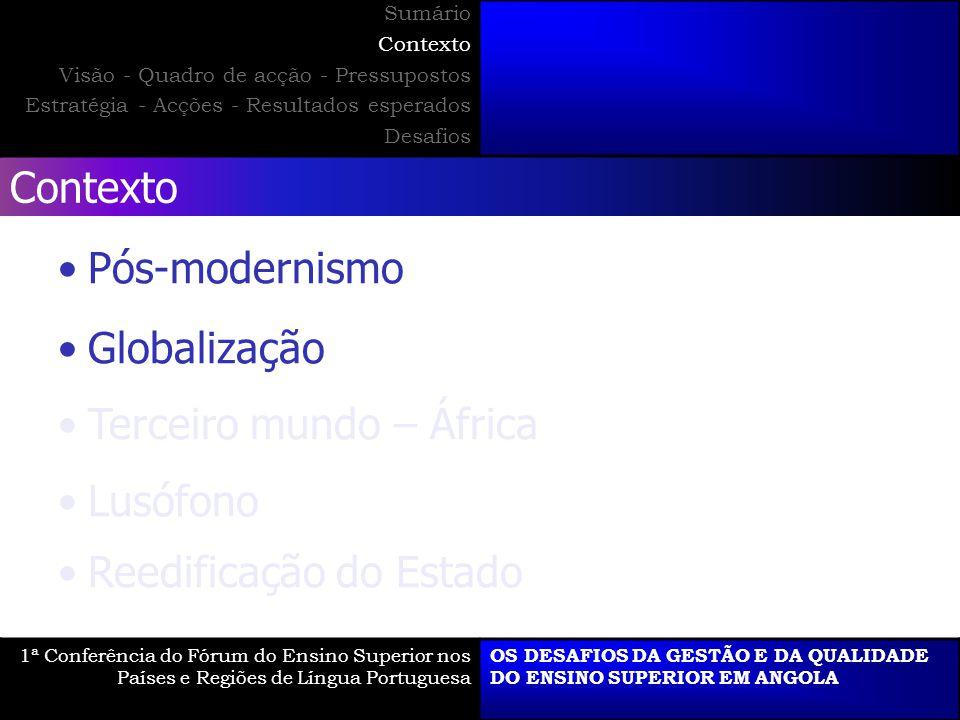 Contexto Pós-modernismo Globalização Terceiro mundo – África Lusófono Reedificação do Estado 1ª Conferência do Fórum do Ensino Superior nos Países e R