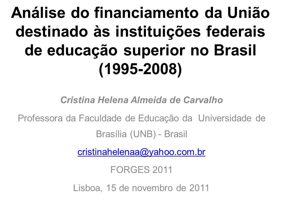 Análise do financiamento da União destinado às instituições federais de educação superior no Brasil (1995-2008) Cristina Helena Almeida de Carvalho Pr