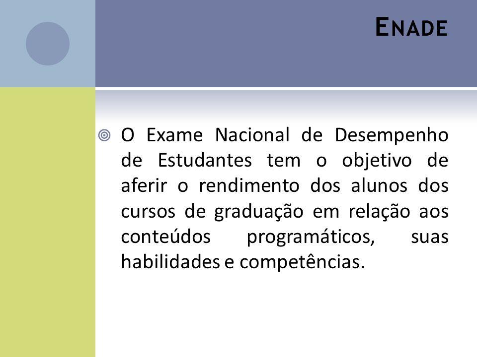 E NADE O Exame Nacional de Desempenho de Estudantes tem o objetivo de aferir o rendimento dos alunos dos cursos de graduação em relação aos conteúdos