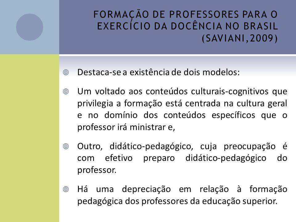 FORMAÇÃO DE PROFESSORES PARA O EXERCÍCIO DA DOCÊNCIA NO BRASIL (SAVIANI,2009) Destaca-se a existência de dois modelos: Um voltado aos conteúdos cultur