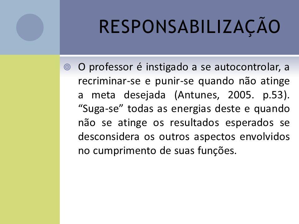 RESPONSABILIZAÇÃO O professor é instigado a se autocontrolar, a recriminar-se e punir-se quando não atinge a meta desejada (Antunes, 2005. p.53). Suga