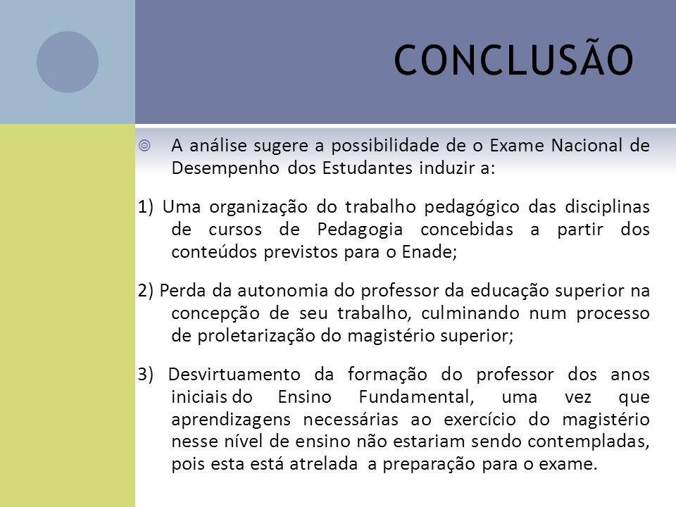 CONCLUSÃO A análise sugere a possibilidade de o Exame Nacional de Desempenho dos Estudantes induzir a: 1) Uma organização do trabalho pedagógico das d