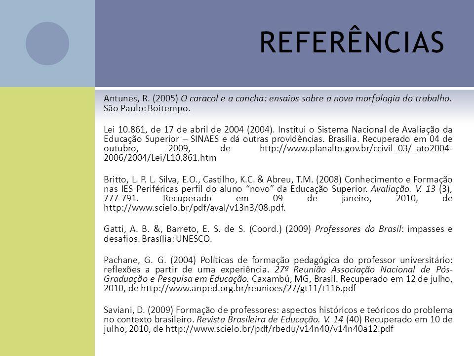 REFERÊNCIAS Antunes, R. (2005) O caracol e a concha: ensaios sobre a nova morfologia do trabalho. São Paulo: Boitempo. Lei 10.861, de 17 de abril de 2