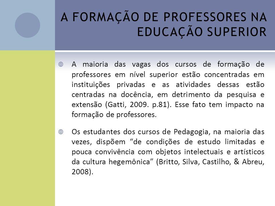 A FORMAÇÃO DE PROFESSORES NA EDUCAÇÃO SUPERIOR A maioria das vagas dos cursos de formação de professores em nível superior estão concentradas em insti