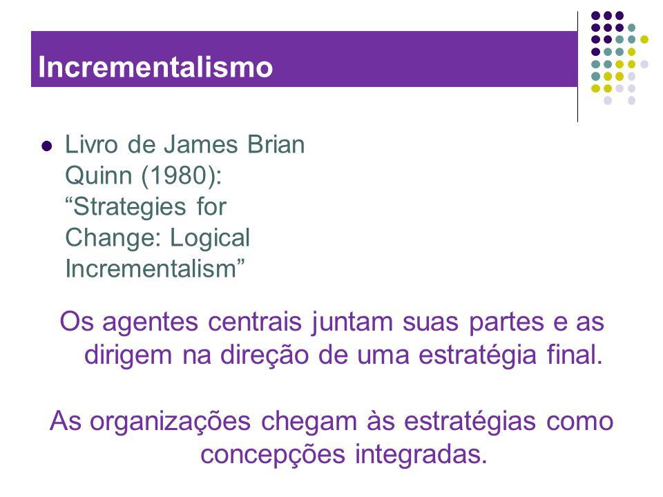 Incrementalismo Livro de James Brian Quinn (1980): Strategies for Change: Logical Incrementalism Os agentes centrais juntam suas partes e as dirigem n