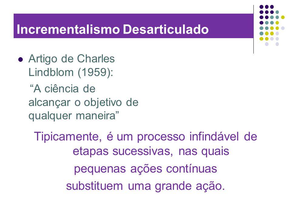 Incrementalismo Desarticulado Artigo de Charles Lindblom (1959): A ciência de alcançar o objetivo de qualquer maneira Tipicamente, é um processo infin