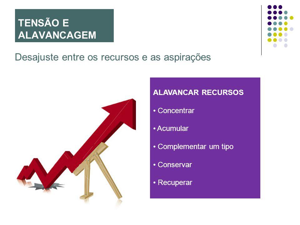 TENSÃO E ALAVANCAGEM Desajuste entre os recursos e as aspirações ALAVANCAR RECURSOS Concentrar Acumular Complementar um tipo Conservar Recuperar