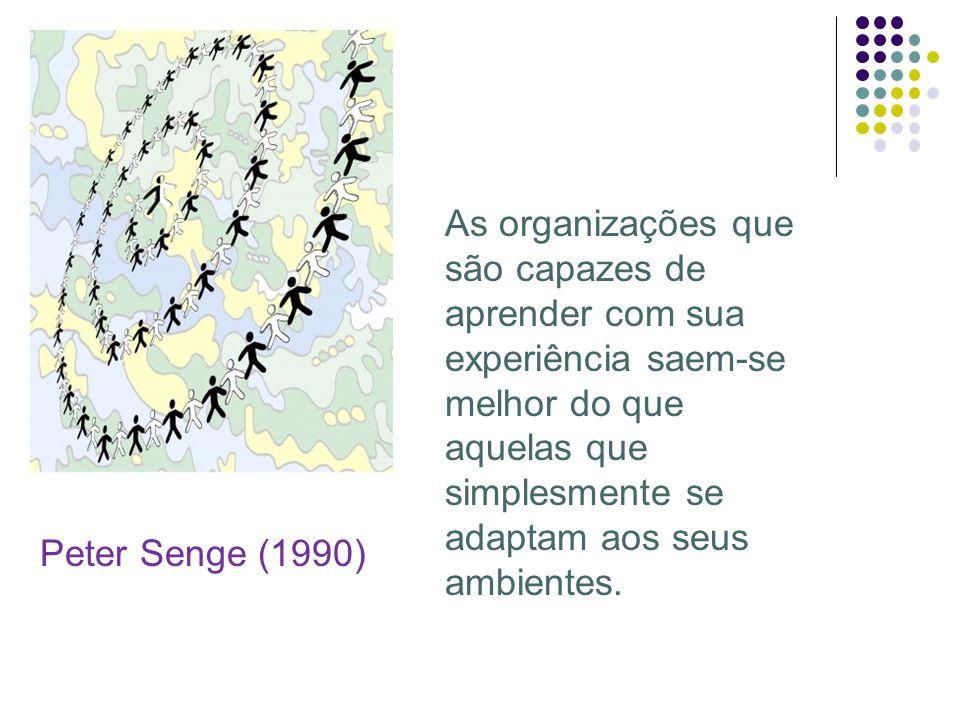 Peter Senge (1990) As organizações que são capazes de aprender com sua experiência saem-se melhor do que aquelas que simplesmente se adaptam aos seus