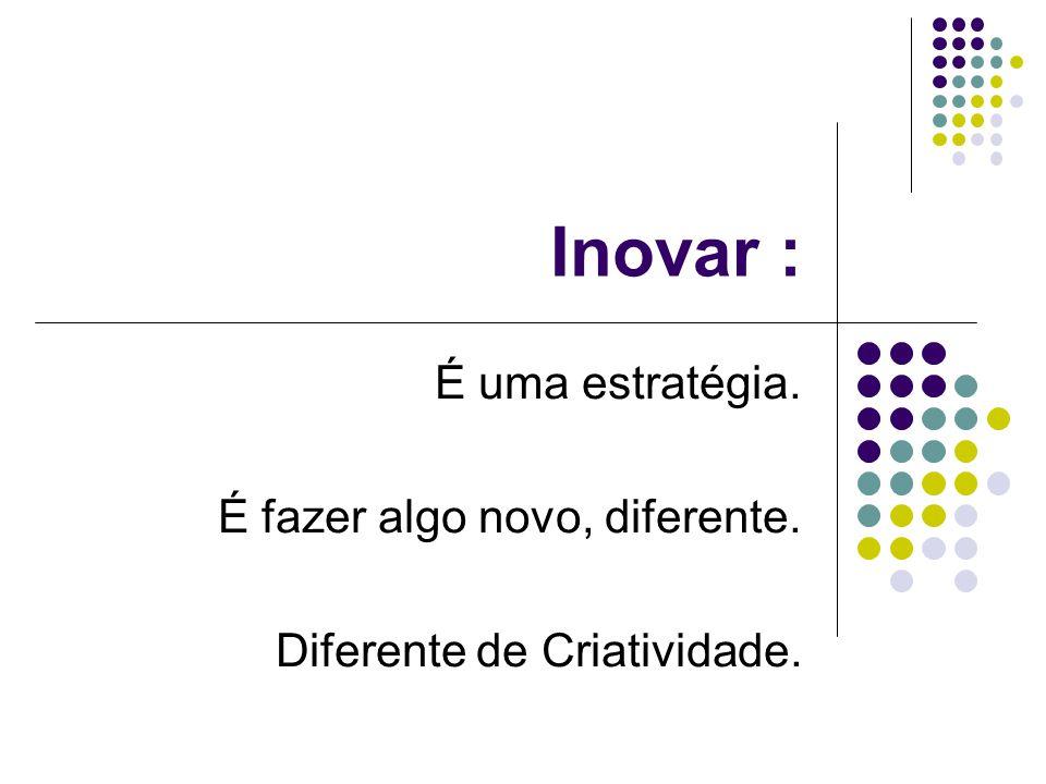 Inovar : É uma estratégia. É fazer algo novo, diferente. Diferente de Criatividade.